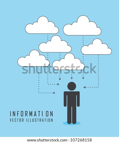 men with thought clouds over blue background. vector - stock vector