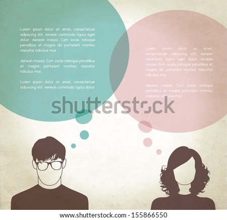 Men & Women with thinking bubbles - stock vector