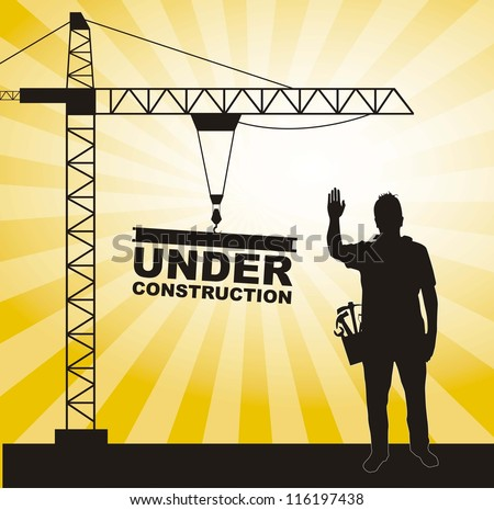 men working in construction with crane tower. vector illustration - stock vector