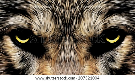 Menacing expression and mystic charm of the wolf, beautiful animal and dangerous beast. Amazing blackened vector image in oil painting style. Great for user pic, icon, label, symbol, emblem or tattoo. - stock vector
