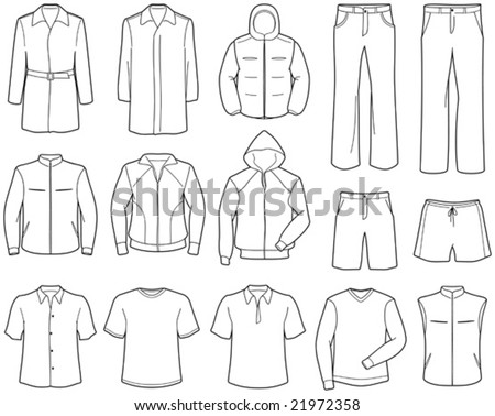 Mens casual clothes and sportswear - stock vector
