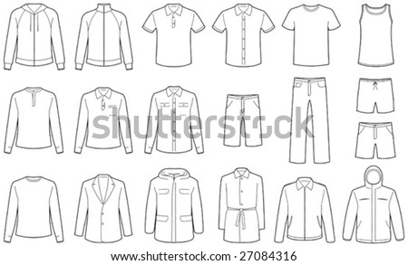 Mens clothes isolated - stock vector