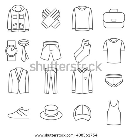 Mens clothes line icons set. Shoe and jacket fashion man wear. Vector illustration - stock vector