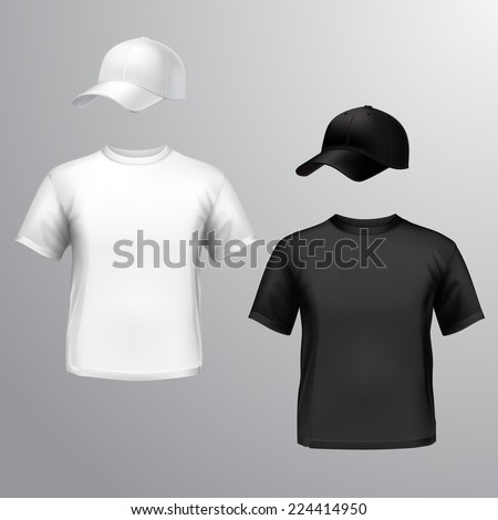 Mens t-shirt and baseball cap front set isolated on grey background vector illustration - stock vector