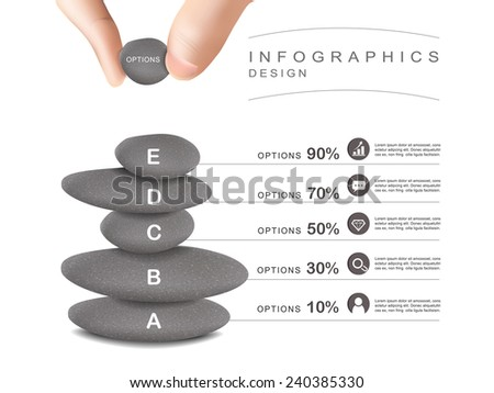 mental concept infographic template design with stone tower - stock vector
