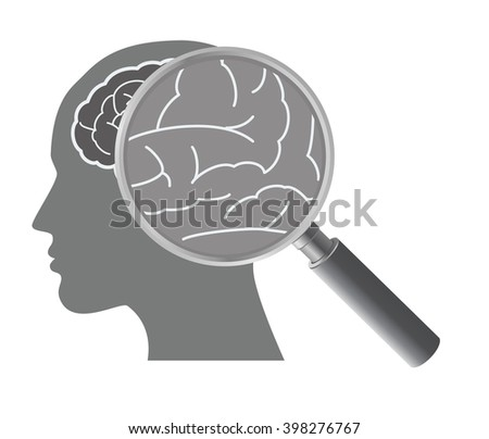 Mental health and care concept with brain illustration and magnifier.