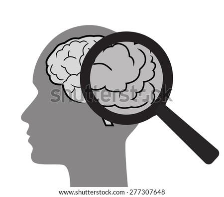 Mental health concept with brain and magnifier illustration. White background. - stock vector