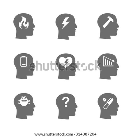 Mental health icons set, Stress concept, depression. Load desperate, emotional desperation, pressure  stressful, symbol trouble and sadness,  questions. Vector illustration - stock vector