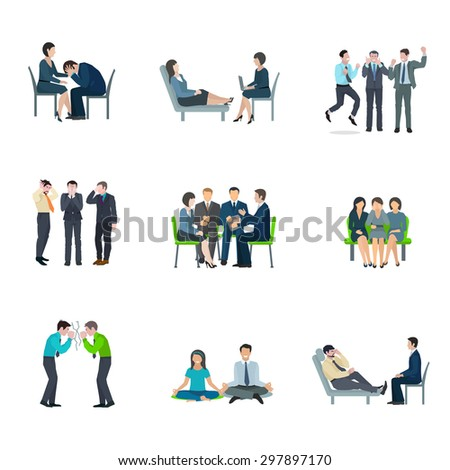 Mental health maintaining methods of group therapy and psychoanalytic appointment flat icons set abstract isolated vector illustration - stock vector