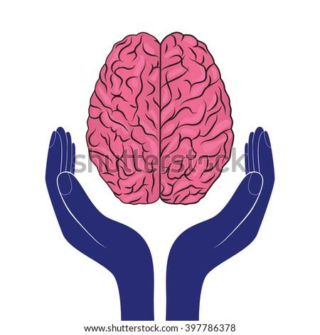 mental health sign vector human brain as concept - stock vector