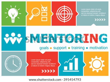 Mentoring design illustration concepts for business, consulting, management, career. Mentoring concepts for web banner and printed materials.
