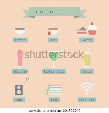 menu and other things in coffee shop, flat style - stock vector