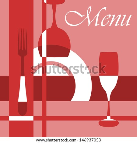 Menu background with dishware and glasses in red and pink colours. Jpeg version also available in gallery