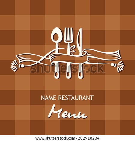 menu banner with spoon, fork and knife - stock vector