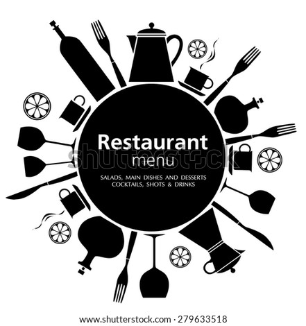 Menu black color restaurant. - stock vector