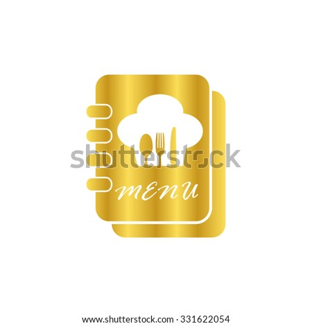 Menu book -  gold vector icon - stock vector