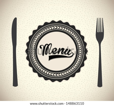 menu brochure over beige background vector illustration   - stock vector