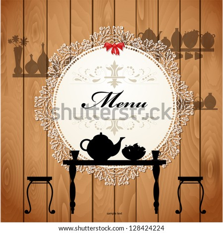 Menu card design for a cute cafe - stock vector