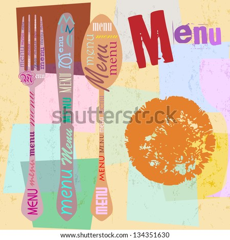 menu card design template for restaurant, free copy space, with typography - stock vector