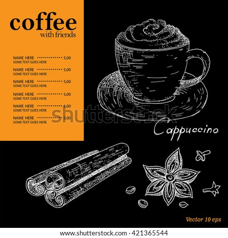 Menu coffee, cafe, pub . - stock vector