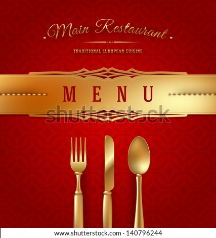 Menu cover with golden cutlery and decorative elements - vector illustration - stock vector
