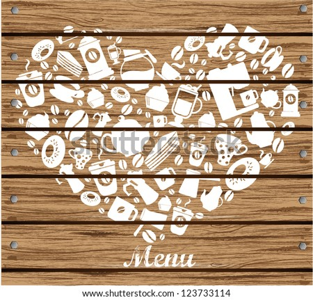 Menu Cover with wood texture - stock vector