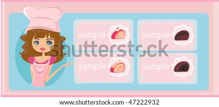 menu design - Beautiful girl cooking - stock vector