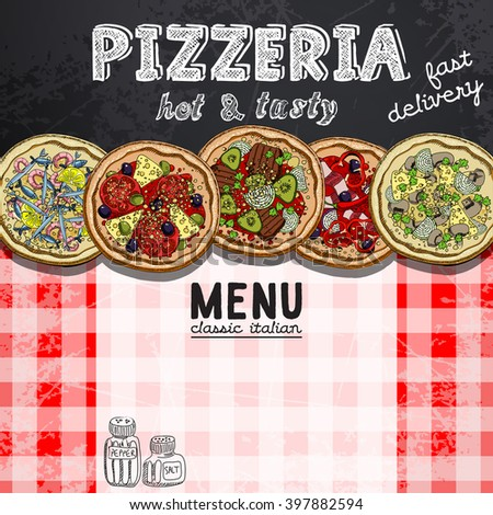 menu design in the pizzeria - stock vector