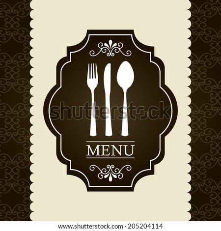 menu design over pattern  background vector illustration - stock vector
