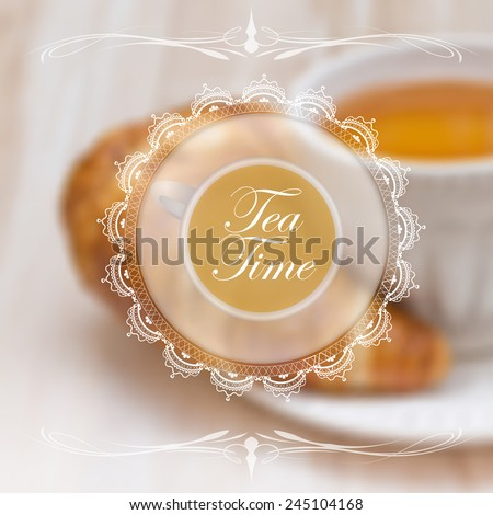 Menu design template with tea cup and lace napkin - stock vector