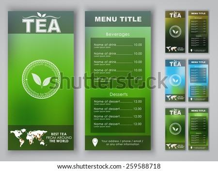 Menu design with blurred background (flyers, banners, brochures) for tea shops or cafes. Vector illustration. Set.. - stock vector