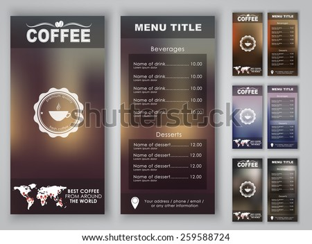 Menu design with blurred background (flyers, banners, brochures) for the coffee shop or cafe. Vector illustration. Set. . - stock vector