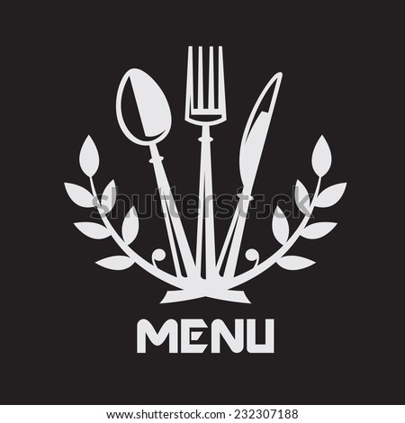 menu design with knife, fork and spoon on black background  - stock vector