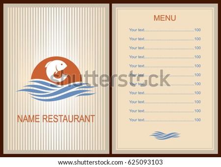 Menu Fish Restaurant Brochure Template Restaurant Stock Vector - Restaurant brochure template