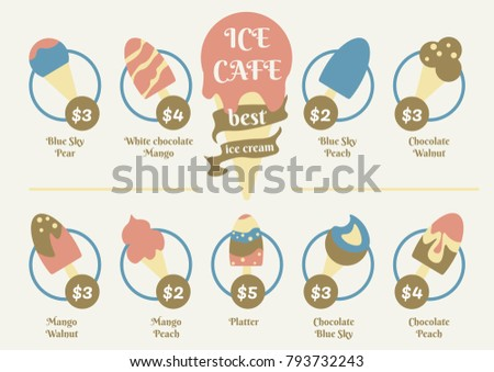 Menu Food Design Ice Cream Cafe Stock Vector 793732243 - Shutterstock