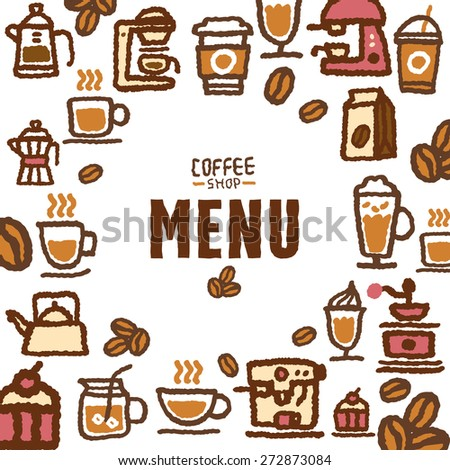 Menu for cafe and coffee shop, vector illustration - stock vector
