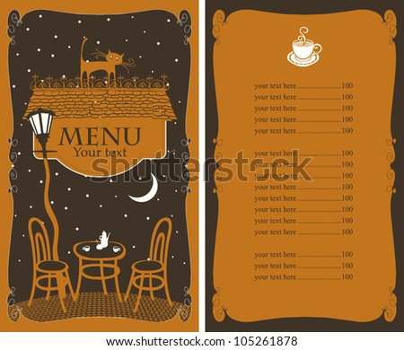 menu for cafe on night table under lamp - stock vector