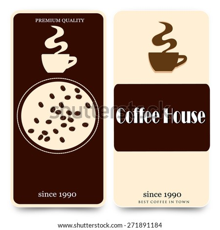 menu for coffee with a mug and coffee beans - stock vector