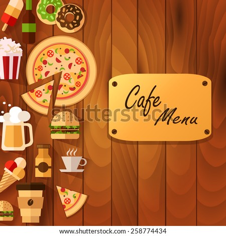 menu for pizza - stock vector