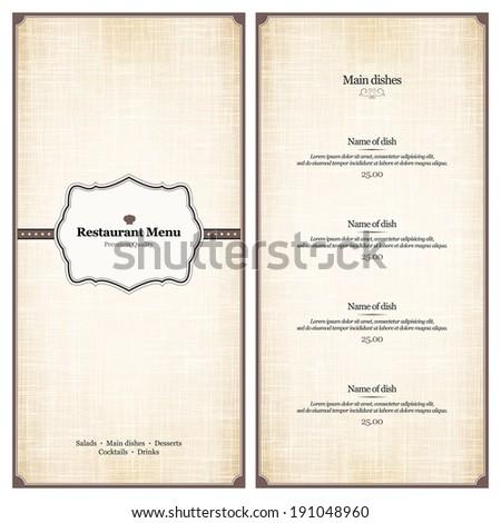 Restaurant menu design stock vector 269233190 shutterstock menu for restaurant cafe bar coffee house ccuart Images