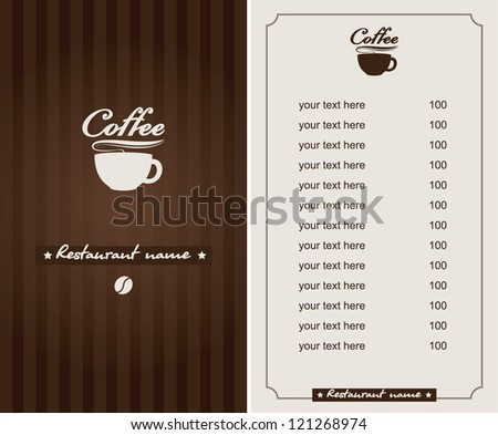 menu for the cafe with a cup of coffee - stock vector