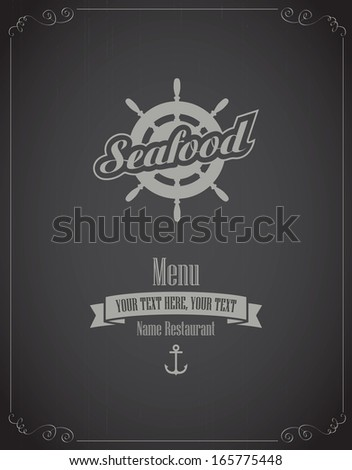 menu for the restaurant with seafood - stock vector