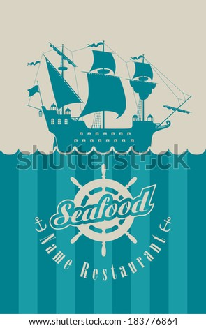 menu for the seafood restaurant with military sailing, steering wheel and anchor - stock vector