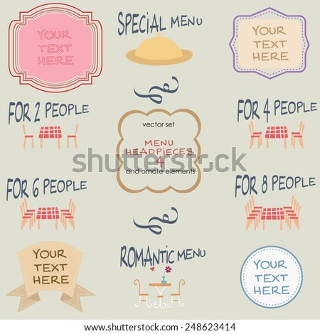 Menu Headpieces and ornament elements with colours 3