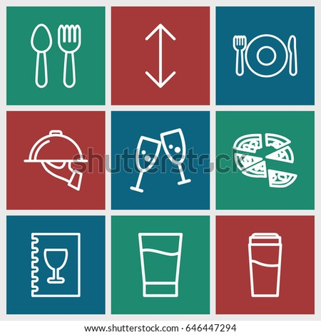 Menu icons set. set of 9 menu outline icons such as spoon and fork, plate fork and spoon, drink, pizza, menu, dish serving, arrow