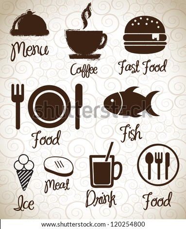 Menu  icons silhouettes  over background vector illustration - stock vector