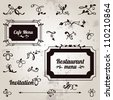Menu, invitation design template. Vector set: ornamental frames, dividers and page decoration elements. Old paper background. - stock vector