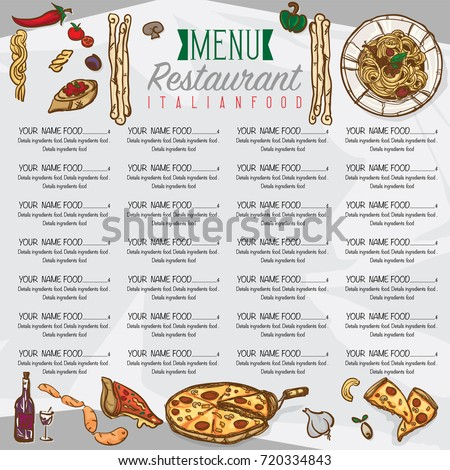 Menu italian food template design hand stock vector - Italian cuisine menu list ...