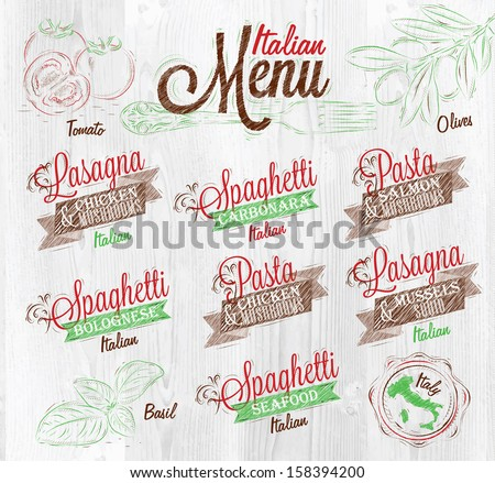 Menu Italian  the names of dishes of spaghetti, lasagna, pasta carbonara, bolognese and other ingredients tomato, basil, olive to design a menu stylized on the background of whitened wood - stock vector