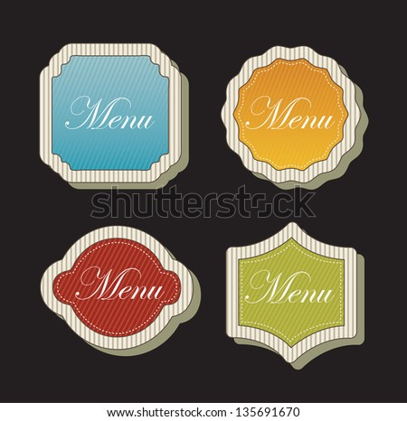 Menu labels over black background vector illustration